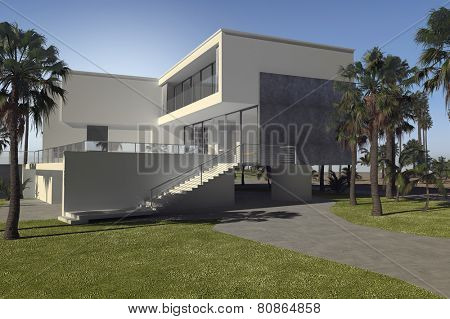 3D Rendering of Large luxury tropical villa with palm trees and a blocky multi-storey flat roof design with white walls and outdoor patios
