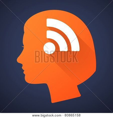 Female Head Silhouette Icon With A Rss Sign