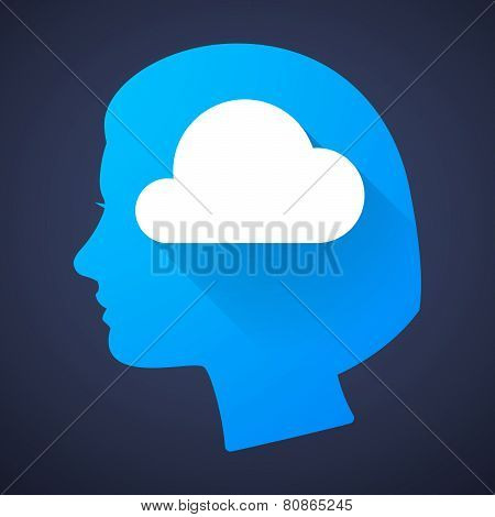 Female Head Silhouette Icon With A Cloud