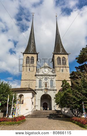 The Hof Church In Lucerne In Switzerland