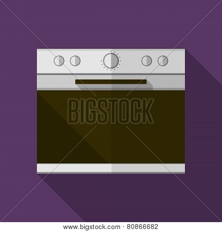 Gray stove flat vector icon