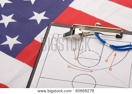 Basketball Tactics On A Sheet Of Paper