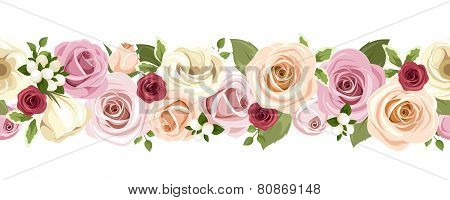 Horizontal seamless background with colorful roses and lisianthus flowers. Vector illustration.