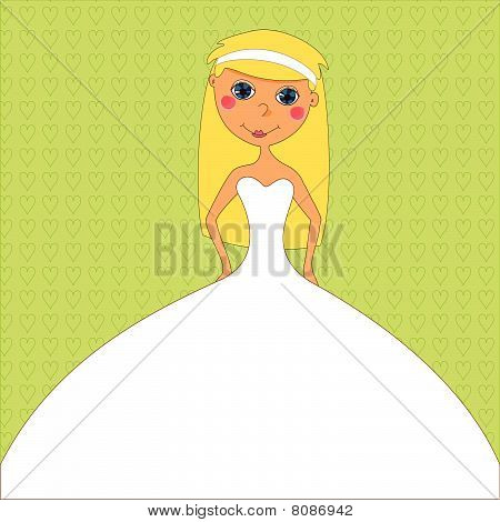 Bride in white dress  on wedding invitation