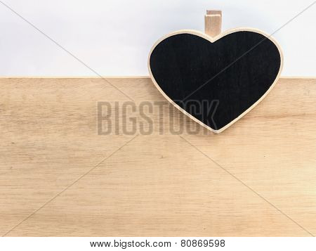 Wooden Clipboard Heart Shape On Wood Board