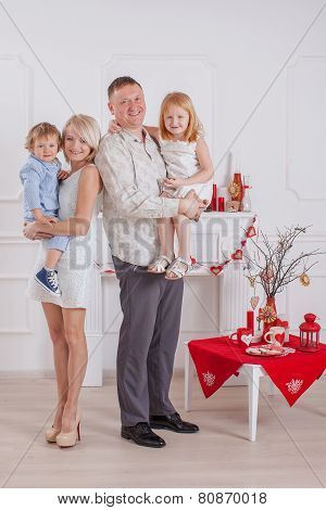 A happy family with kids at home