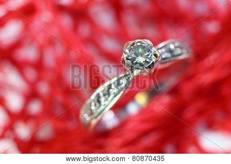 Diamond Ring In White Gold And Many Diamonds