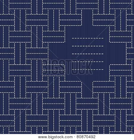 Japanese Embroidery Ornament with weaving and place for your text. Sashiko seamless pattern.