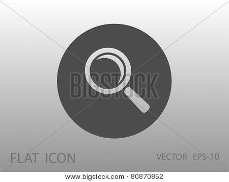 Flat icon of loupe