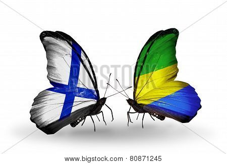 Two Butterflies With Flags On Wings As Symbol Of Relations Finland And  Gabon