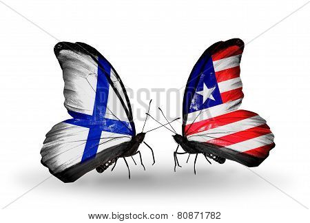 Two Butterflies With Flags On Wings As Symbol Of Relations Finland And Liberia