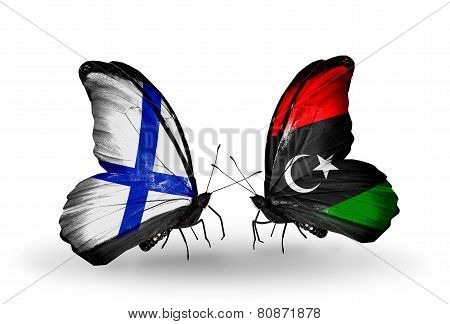 Two Butterflies With Flags On Wings As Symbol Of Relations Finland And Libya