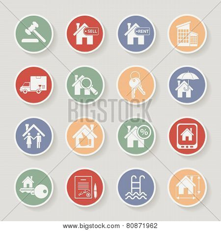 Real estate round icon set. Vector illustration