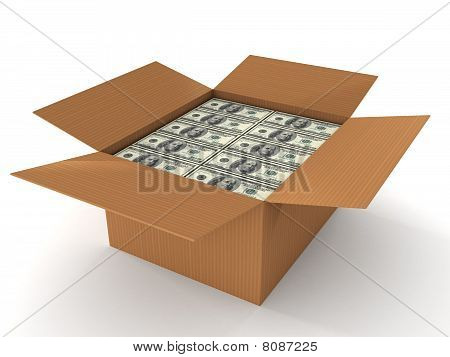 100 Dollar Bills In Cardboard