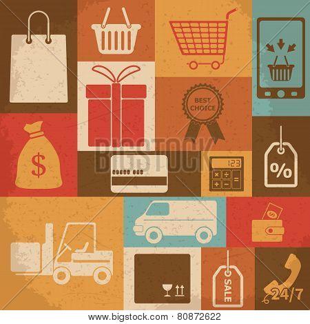 Retro shopping icons. Vector illustration
