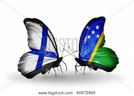 Two Butterflies With Flags On Wings As Symbol Of Relations Finland And Solomon Islands