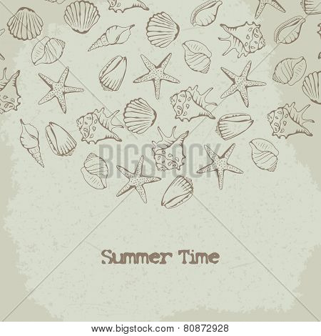 Shells and starfish vector background