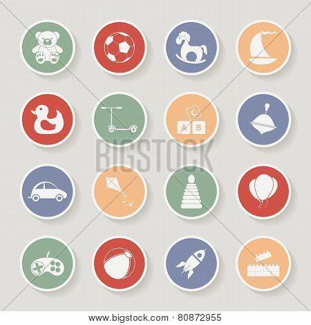 Round children's toys icon set. Vector illustration