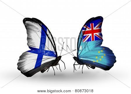 Two Butterflies With Flags On Wings As Symbol Of Relations Finland And Tuvalu