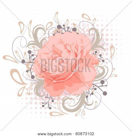 Vintage Abstract Peony Flower