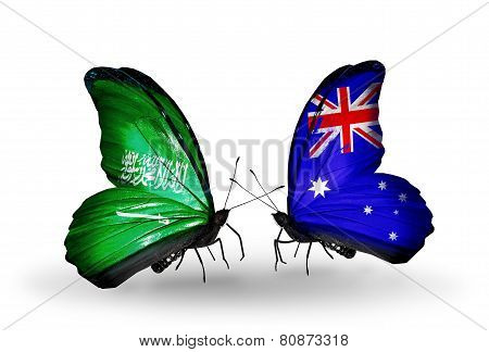 Two Butterflies With Flags On Wings As Symbol Of Relations Saudi Arabia And Australia