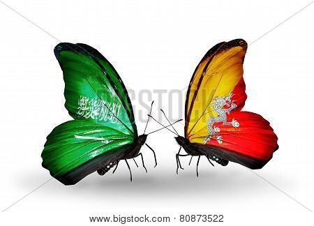 Two Butterflies With Flags On Wings As Symbol Of Relations Saudi Arabia And Bhutan