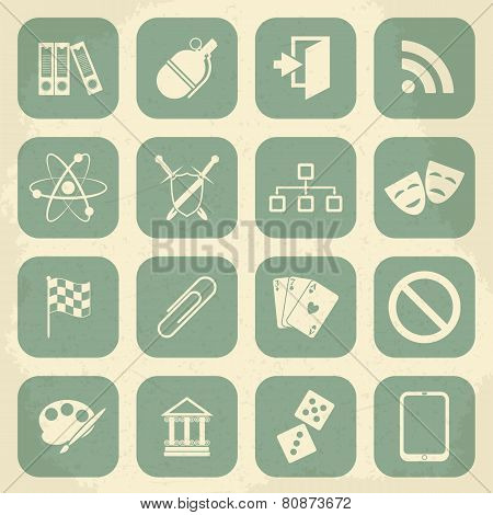 Universal Retro Icons For Web and Mobile. Vector illustration