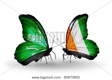 Two Butterflies With Flags On Wings As Symbol Of Relations Saudi Arabia And Cote Divoire