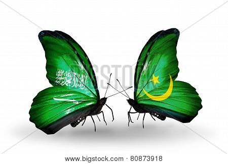 Two Butterflies With Flags On Wings As Symbol Of Relations Saudi Arabia And Mauritania