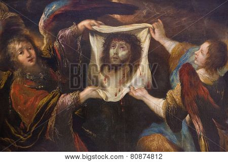 Two Angels Holding The Veil Of Veronica