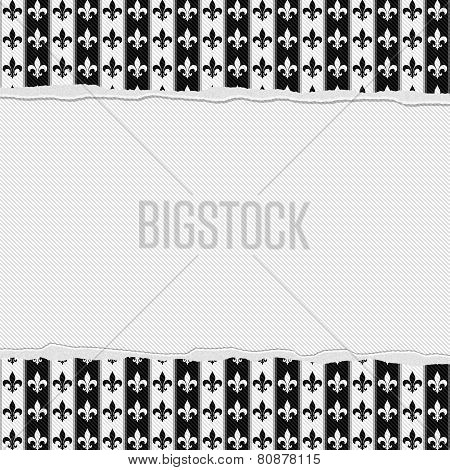 Black And White Fleur-de-lis Frame With Torn Background