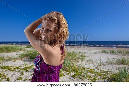 Happy Woman In Purple Sundress