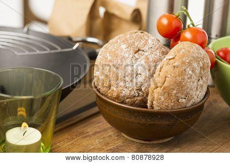 Freshly Baked Wholegrain Brown Rolls