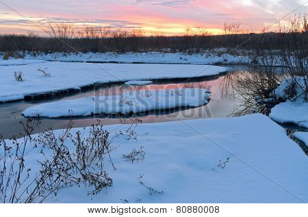 Winter Twilight At Minnesota Valley Wildlife Refuge