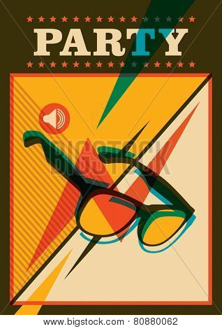 Retro party poster with sunglasses. Vector illustration.