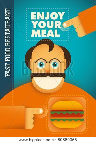 Fast food restaurant poster with comic guy. Vector illustration.