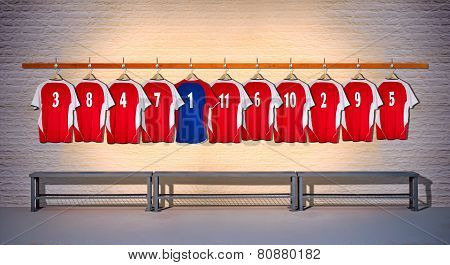 Row of Red and Blue Football Shirts 3-5