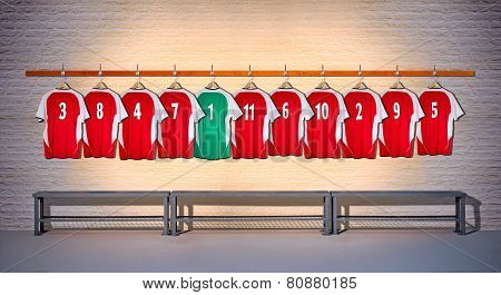 Row of Red and Green Football Shirts 3-5