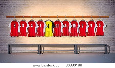 Row of Red and Yellow Football Shirts 3-5