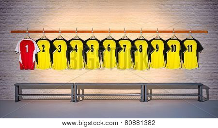 Row of Football Yellow and Red Shirts 1-11