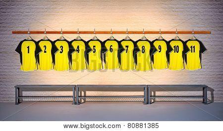 Row of Football Yellow Shirts 1-11