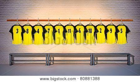 Row of Football Yellow Shirts 3-5