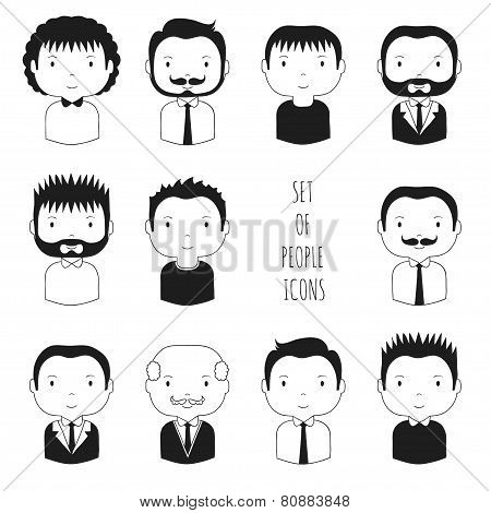 Set of monochrome male faces icons.