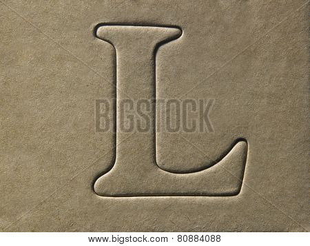 die cut alphabet l on the brown card board
