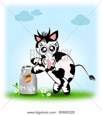Cute Cow With Jug Of Milk