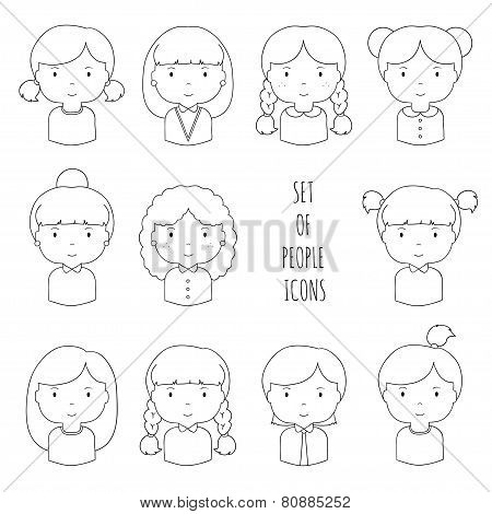 Set of line female faces icons.