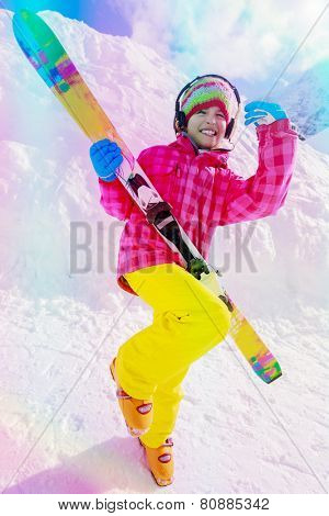 Ski, skier, winter vacation - lovely girl has a fun on ski, filtered