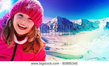 Winter vacation, snow, skier, sun and fun - girl enjoying winter vacations, filtered