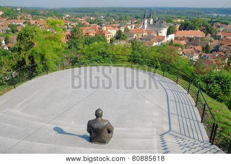 natural beauty and architecture of Sremski Karlovci from viewpoint sculpture of Dusko Trifunovic poet, Serbia