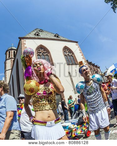 People At Christopher Street Day In Frankfurt